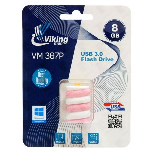 Vikingman VM307 P Candy Bar Soft Touch Rubber flash drive USB 3.0 - 8GB